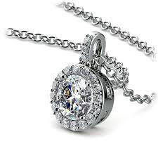 petite halo diamond pendant setting in platinum 01