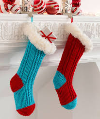Crochet Christmas Stocking Pattern Magnificent Fur Top Holiday Stockings Red Heart
