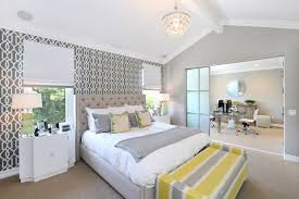 Spacious Bedroom Decoration Idea Using Stripe Grey And Yellow Bench