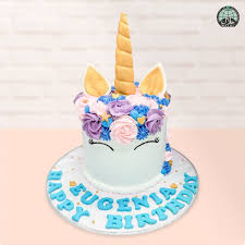 Customised Magical Unicorn Lavender Halal Birthday Cake Party