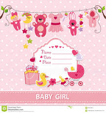 baby shower invitations for girls templates new born baby girl card shower invitation template stock vector