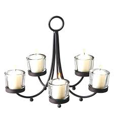 metal votive candle chandelier with 5 clear holders hanging tea light holder real lighting