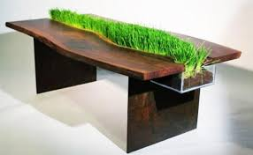 modern wood furniture design. solid wood table with grass for interior decorating in eco style modern furniture design m