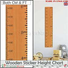 Wooden Ruler Height Chart Uk Height Ruler Giant Wooden Print Growth Height Chart Wall Stickers Decal Uk