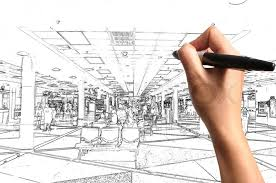 Interior Design Drawing Interesting Male Hand Drawing Building And Interior Design As Architect Plan