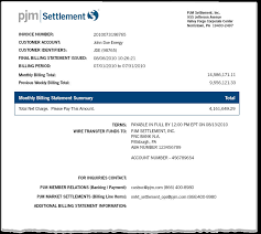 Pjm - Monthly Billing Statement Example