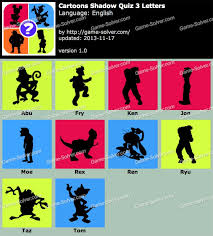 Cartoons Shadow Quiz 3 Letters