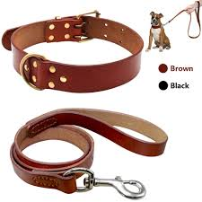 details about heavy duty genuine leather dog collars and leash set soft for dogs m l pit bull