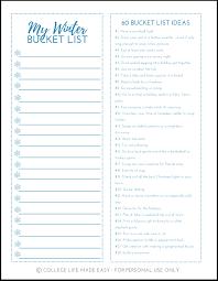 Bucket List Printable Template Free Printable Winter Bucket List Worksheets