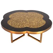 gold leaf and black glass mosaic quatrefoil coffee table on bronze base for
