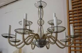 glass 12 arm murano chandelier c 1960 s in grey overall in very nice original