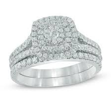 bridal sets wedding zales Wedding Band Sets Zales t w composite diamond double frame split shank bridal set in 10k white gold wedding band sets zales