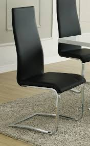 Coaster Modern Dining Black Faux Leather Chair with Chrome Legs