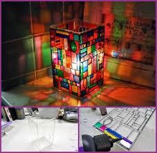 diy faux stained glass mosaic luminary