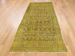 3 5 x9 6 hand knotted vintage overdyed persian hussainabad wide runner rug cwr39180