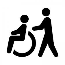 車椅子の介護の白黒シルエット 無料のaipng白黒シルエットイラスト