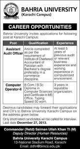 bahria university karachi jobs for assistant audit  bahria university karachi jobs 2013 for assistant audit officer computer operator