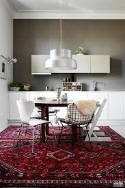 persian rug with modern breakfast nook