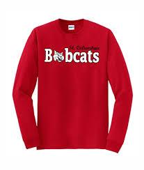 red long sleeve t shirt st columban logo