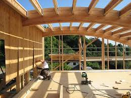 Curved Glulam roof