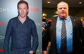 see damian lewis hidden in full makeup as former toronto mayor rob ford