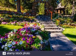 flowers and gazebo at cascade gardens banff national park alberta canada