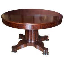 Expandable round dining table Black American Period Neoclassical Expandable Round Dining Table In Mahogany For Sale Hope Beckman Design American Period Neoclassical Expandable Round Dining Table In