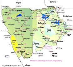 Namibia Distance Chart Map Of Namibia Roads And Distances