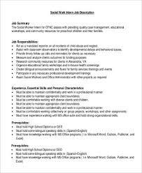 Social Worker Job Description Samples Basic Work Intern Summary ...