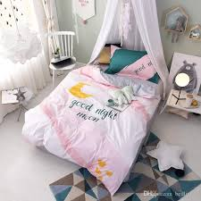 pink good night moon bedding sets twin clearance dovet covers bed sheets bed comforter teen girl bedroom decorations gift duvets