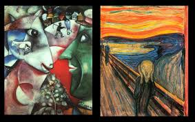 chagall s i and the village left munch s the scream right