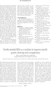 double stranded rna as a mediator in sequence specific genetic  first page of article