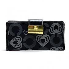 Coach Lock In Hearts Large Black Wallets DVQ