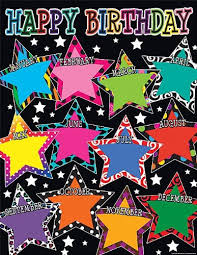 Teacher Birthday Chart Teacher Created Resources Fancy Stars Happy Birthday Chart