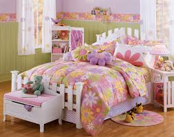 beauteous girls bedroom design with wooden beds which has colorful florals comforters sets and cute pink incredible amazing cute decorating charming kid bedroom design decoration