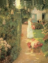 Small Picture Gathering Flowers In A French Garden Painting by Childe Hassam