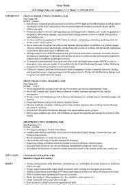 Coordinator Production Coordinator Resume Samples Velvet Jobs