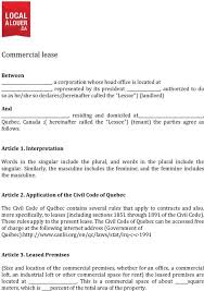Free Commercial Lease Agreements Forms Download Quebec Commercial Lease Agreement Form For Free Tidytemplates