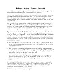 Resume Summary Statement Examples Building A Resume Summary