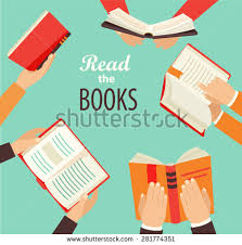 stock vector vector set of hand holding books icons in flat retro style 281774351