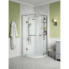 glamour 38 in x 77 in corner drain corner shower kit in white and