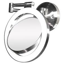 x magnifying lighted makeup mirror swing arm wall mount