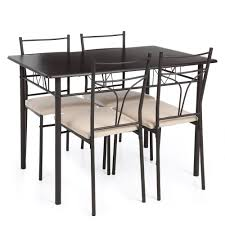 table 4 chairs set. ikayaa 5pcs modern metal frame dining kitchen table chairs set for 4 person furniture 120kg load capacity