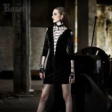 <b>Rosetic</b> Gothic Dress Lace-Up Black <b>Hollow Out</b> Sexy Autumn ...