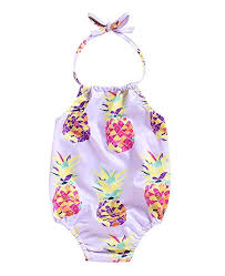 Mini honey Baby <b>Girl Pineapple</b> Print Backless Halter <b>Swimwear</b> ...
