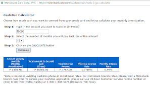 pay back loans calculator metrobank credit card promos and more