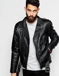 schott biker jacket in leather with belt