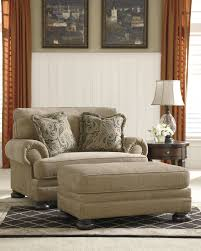 Oversized Living Room Furniture Sets Ashley Keereel Sand Fabric Upholstered Oversized Chair And Ottoman Set