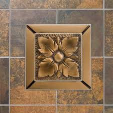 solid bronze wall tile with wall flower design  kitchen