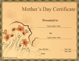 Special Certificates Mothers Day Certificate Certificatestreet Com